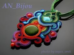 Elegant colored Necklace soutache with green turquoise. by ANBijou