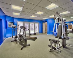 Home Gym Exercise Room Design, Pictures, Remodel, Decor and Ideas - page 13 Home Gym Garage, Gym Room At Home, Basement Gym, Home Gym Exercises, Gym Workouts, At Home Workouts, Mini Gym, Recumbent Bike Workout, Photo Deco