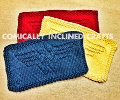 Knitting patterns for Wonder Woman dish cloths or afghan blocks - Designed by ComicallyInclined. Owl Knitting Pattern, Knitted Dishcloth Patterns Free, Knitted Washcloths, Crochet Dishcloths, Knitting Patterns Free, Crochet Patterns, Nerd Crafts, Easy Knitting, Knitting Toys