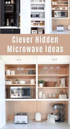 Here are clever hidden microwave ideas for your kitchen. From cabinet ideas to pantry you will not find these microwaves above stoves. DIY ideas for small kitchens and cabinet storage ideas, cabinet islands, appliance garages and more. Diy Kitchen Storage, Diy Kitchen Cabinets, Kitchen Organization, Cabinet Storage, Cabinet Ideas, Kitchen Remodeling, Kitchen Renovation Diy, Kitchen Cabinet Paint, Diy Kitchen Makeover