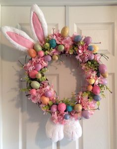 Adorable Easter Bunny Grapevine Wreath! Made by Designs By Sammy! Www.facebook.com/madewithlovebysammy