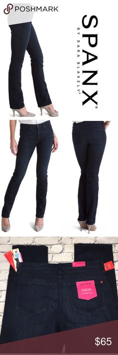 "SPANX - The Slim-X Straight Leg Jean SPANX - The Slim-X Straight Leg Jeans  NWT  Color: Dark Dipped Classic straight leg, curve contouring design featuring Triple Thread Technology and extra stretch yarns. Perfect for work or play, also looks great cuffed!  ** Also available in size 28  & size 29 in Blue Wash color *** please see other listings  Size 31  10"" front rise  32"" inseam  93% Cotton, 6% Polyester and 1% Lycra. SPANX Jeans Straight Leg"