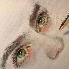 Ideas For Painting Face Watercolor Eyes Watercolor Eyes, Watercolor Portraits, Watercolor Paintings, Watercolor Drawing, Drawing Portraits, Watercolor Sketchbook, Art Paintings, Photographie Portrait Inspiration, Art Et Illustration