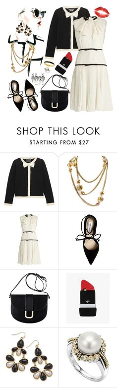"""Black & White"" by petalp ❤ liked on Polyvore featuring Boutique Moschino, Sweet Romance, Giambattista Valli, Steve Madden, A.P.C., Valfré, Thalia Sodi, Lagos, Kate Spade and ootd"