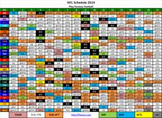 NFL Schedule Regular Season 2014