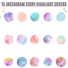 Watercolor Instagram Highlight Covers   Social Media Icons   Instagram Story Icons   Covers For Instagram   Watercolor Circles Instagram Feed, Instagram Story, Watercolor Circles, Social Media Icons, Instagram Highlight Icons, Story Highlights, App Icon, Trip Planning