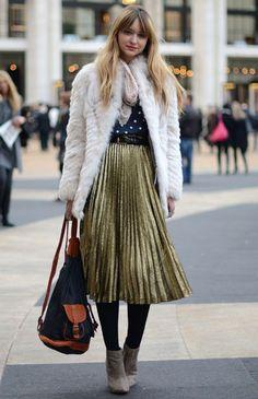 2012プリーツスカート - ニューヨークストリートスタイル