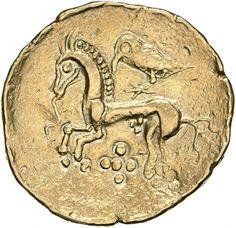 Statere - oro - Gallia (150-50 a.C.) - verso: cavallo al galoppo con lingua a forma di serpente e corvo sulla groppa - Münzkabinett der Staatlichen Museen Berlin