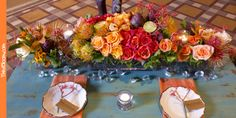 I love the shades of oranges against the aqua table!