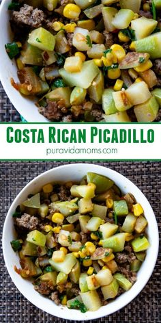 Chayote, ground beef, sweet corn- the perfect Costa Rican picadillo recipe. Paleo, Whole 30, warm salad, side dish, main dish