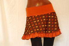 Retro ruffle skirt - dots orange brown