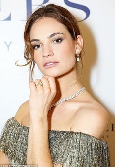 Ready for her close-up: The actress wore a diamond multi-string necklace and a dazzling ring