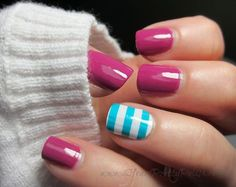Image via Red nails gold accents Image via Pretty Short Nail Designs For Spring and it's Nerium colors Image via Simple Nail Art Designs for Short Nails Image via fun summ Get Nails, Fancy Nails, Love Nails, How To Do Nails, Hair And Nails, Pretty Nails, Gorgeous Nails, Short Nail Designs, Simple Nail Designs