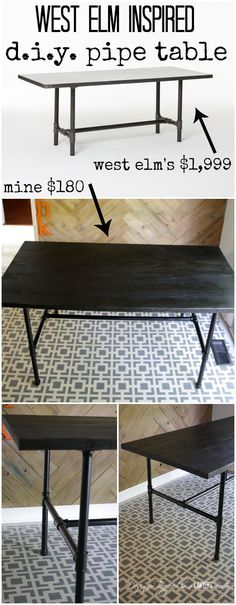 LOVE IT! DIY Pipe Table--full tutorial by Designer Trapped in a Lawyer's Body.