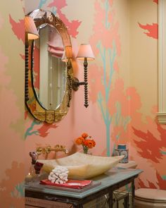 Vintage paint by numbers inspired wallpaper Jeffers Design Group | powder room