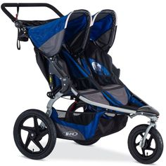 Bob Strides Duallie Twin Baby Double Jogger Fitness Jogging Stroller 2016 Blue-1 Each