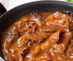 Liver and bacon with onion gravy. This recipe calls for using ketchup in the sauce, which I will not use, subbing for the same amount of tomato paste instead. If you caramelize the tomato paste until it turns a darker red, it gives the sauce a taste of so Onion Recipes, Lamb Recipes, Sauce Recipes, Cooking Recipes, Chicken Liver Recipes, Recipe For Fried Chicken Livers, Recipes Using Bacon, Skillet Recipes, Healthy Recipes