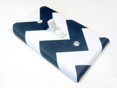 White and Navy Blue Chevron Light Switch Cover by ModernSwitch, $6.00