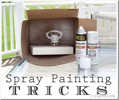 To limit your mess, spray paint an item inside of a cardboard box. 47 Tips And Tricks To Ensure A Perfect Paint Job Tips And Tricks, Spray Painting, Painting Tips, Painting Metal, Heart Painting, Painting Edges, House Painting, Painting Art, Crafts