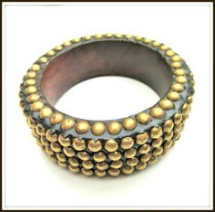 Chunky Bangle made of Brass Studs and Wood by serendipitytreasure
