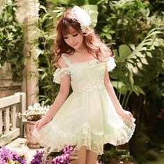 Japanese sweet condole belt lace dress