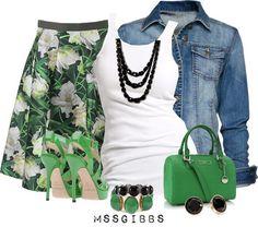 Green, white & denim with black accessories.....