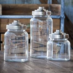 Apothecary Glass Jar with Lid, Set of 3