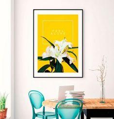 032e223c50 Quadro Poster Decorativo Natureza Flor Lírio - Fundo Amarelo - DePoster -  Site Para Comprar Poster