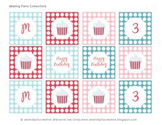 "New ""Baking Party Collection"" Cupcake Toppers/Party Circles. Use these to make cupcake toppers, candy jar labels, favor tags, napkin rings, placecards, party hats, thank you cards & much more! Printable DIY"
