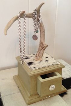 Deer antler jewelry holder cowhide & by RoadApplesfurniture, $125.00