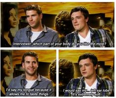 Josh Hutcherson is crazy! Lol. He's so funny, especially when he interviews with Jen Lawrence!! Haha