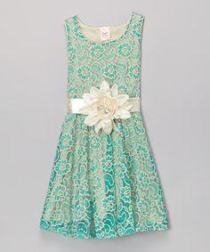 Another great find on #zulily! Mint Floral Overlay Dress - Girls #zulilyfinds