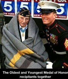 Veterans Day parade NYC Youngest Medal of Honor recipient meets oldest living recipient. They include Marine Corps veteran Dakota Meyer and Nicholas Oresko, the nation's oldest living honoree. Veterans Day Parade Nyc, Medal Of Honor Recipients, Medal Honor, Gi Joe, My Champion, Believe, Us Marine Corps, Marine Mom, Military Life