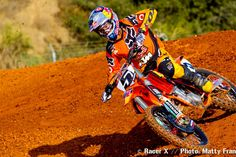 Dungey riding his 2012 race bike at the KTM test track. Ryan Dungey, Monster Energy Supercross, Bike Rider, Dirtbikes, Bike Stuff, Red Bull, Motto, Repeat, Motorcycles