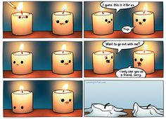 """That's one way to """"go out."""" To make candle jokes, you have to be wick on your feet. ;-) Share your funniest candle jokes in the comments below. Happy Monday! #MondayMorning #Jokes #AddictedtoCandles"""
