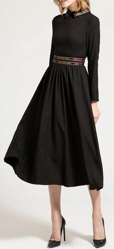 Midi Long Sleeve A Line Dress