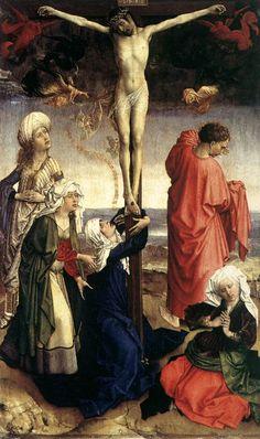 Rogier van der WEYDEN. Crucifixion  1440s  Oil on oak panel, 77 x 47 cm  Staatliche Museen, Berlin