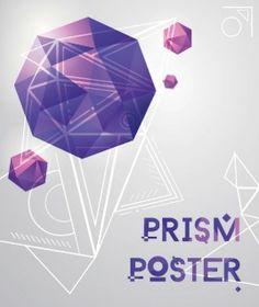 Geometrical prism shapes on purple