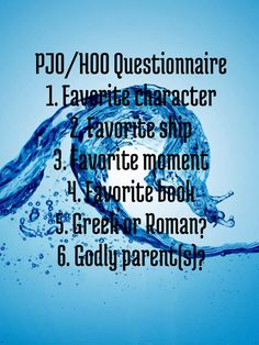 1). Nico do Angelo  2). Percabeth or Jake Mason with myself  3). One does not simply favourite one part  4). The Lost Hero  5). Greek  6). Apollo  -   Comment yours!!