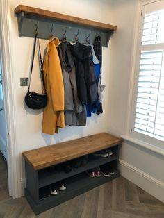 Shoe Rack and Coat Hooks Package Hallway Mudroom Bootroom Porch Shoe Bench/Coat Hooks with Hat Shelf Shoe Rack And Coat Hook, Coat And Shoe Storage, Shoe Storage Utility Room, Hat Shelf, Coat Rack Shelf, Coat Racks, Diy Coat Rack, Hall Coat Rack, Coat Rack Bench