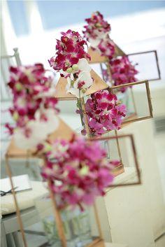 Pink and white Orchid with pink eye - aisle decoration by Tirtha Bridal Uluwatu Bali