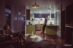 Gorgeous Mid-century Modern. Hardwood floors, green cabinets, great design.