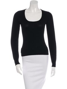 Black Céline cashmere sweater with scoop neck, long sleeves and ribbed trim…
