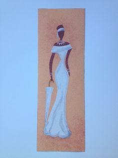 """Lamina de polyphan, donde se ha elaborado un precioso dibujo, con técnica arenas de colores. Motivo: """"mujer africana"""". Listo para enmarcar. Se puede hacer por encargo, contactar con nosotros.  Medidas 15 x 45 cm.   Precio 15€. Gastos de envío gratuitos a partir de35€http://www.telasytentaciones.com/es/inicio/nuestro-rincon-artesanal/artesania/cuadro-de-arena-joven-africana#sthash.DYa8p4dX.dpuf"""