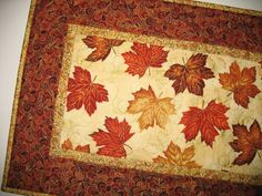 Autumn Table Runner, Fall leaves, quilted, Hoffman focus fabric