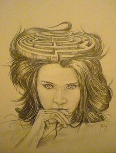 """"""" Ariane """" ou """" les méandres de l'esprit féminin """" mine graphite sur papier  36 x 48 cm."""
