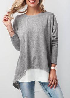 Grey Long Sleeve Button Back Patchwork T Shirt | liligal.com - USD $30.16 #cheapfashionclothes