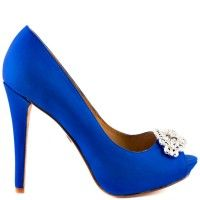 Completely stunning can sum up this exquisite pump by Badgley Mischka. Goodie features a gorgeous royal blue satin upper set off by a rhinestone brooch at the vamp. A 4 inch heel and inch platform create a fabulous addition. Peep Toe Pumps, Pumps Heels, Blue Fashion, Fashion Shoes, Blue Bridal Shoes, Badgley Mischka Shoes Wedding, Wedding Shoes Online, Azul Indigo, Unique Heels