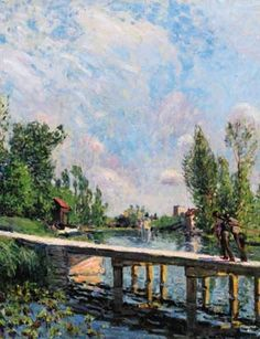 Alfred Sisley, La Passarelle (detail). Oil on canvas. Painted in 1886.
