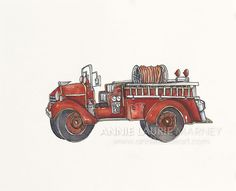 Vintage Firetruck  8x10 Watercolor Print  Red by AnnieLaurieArt, $15.00